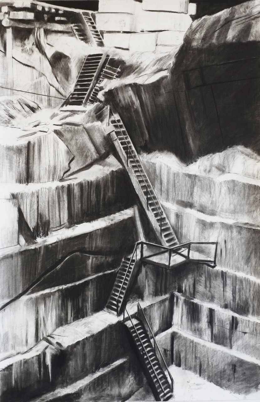 Douglas Stichbury  Quarry , 2014  Charcoal on paper  1500 x 800 mm   _______