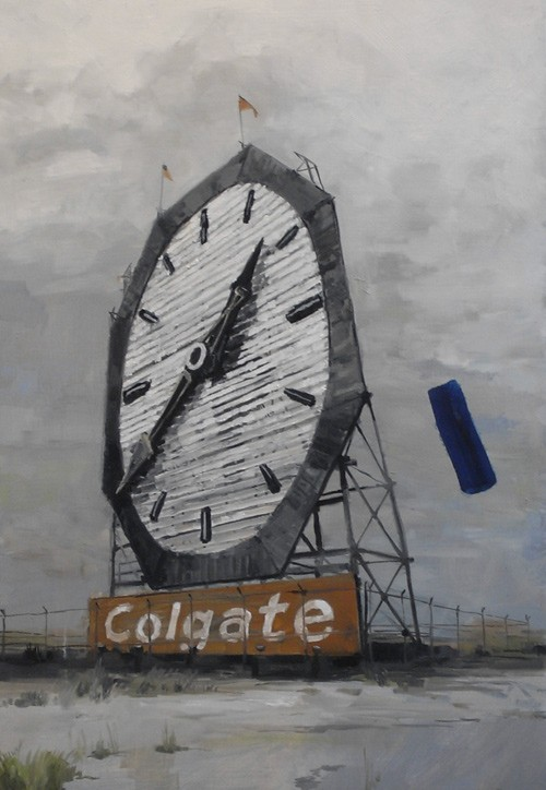 Douglas Stichbury  Colgate Clock Conspiracy , 2010 Oil on board 725 x 500 mm [Private collection]   _______