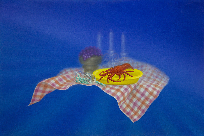 Emily Hartley-Skudder  Banquet with Lobster and Liquorice , 2014 Oil on calico 225 x 335 mm [Private collection]   _______