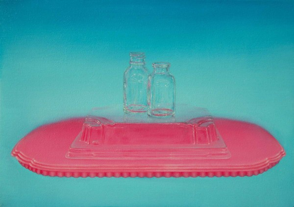 Emily Hartley-Skudder  Transparencies with Pink and Turquoise , 2014 Oil on calico 225 x 335 mm [Private collection]   _______
