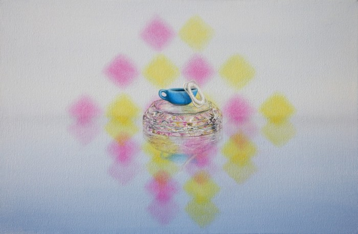 Emily Hartley-Skudder  Pink and Yellow with Sauce Boat and Life Ring , 2013 Oil on calico 188 x 285 mm [Private collection]   _______