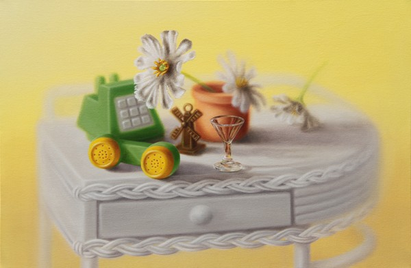 Emily Hartley-Skudder  Master Bedroom (Ornate Nightstand with Telephone and Daisies),  2012-13 Oil on canvas 467 x 707 mm [Private collection]   _______