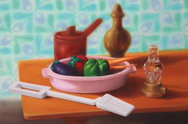 Emily Hartley-Skudder  Kitchen (Still Life with Vegetables and Spatula),  2012  Oil on canvas 560 x 840 mm  [Private collection]   _______