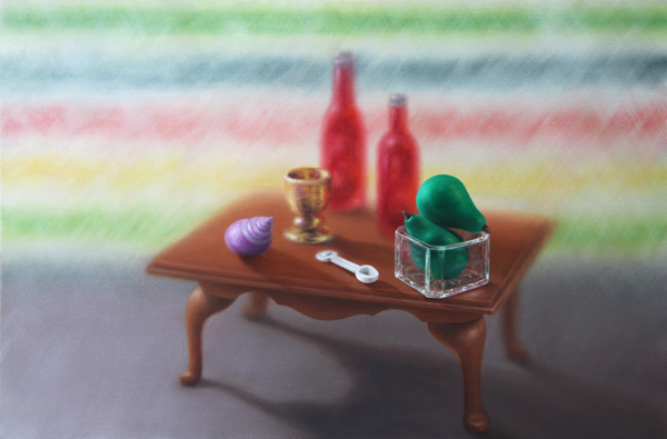 Emily Hartley-Skudder  Family and Dining (Coffee Table with Bottles and Pears),  2013 Oil on calico 560 x 840 mm   _______