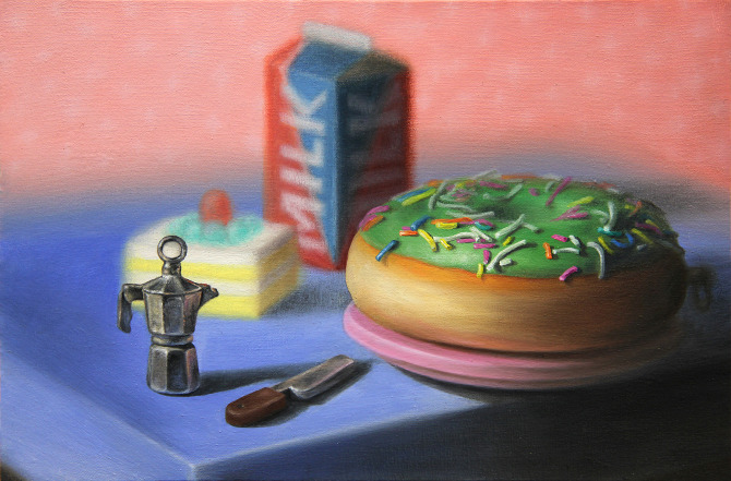 Emily Harley-Skudder  Benchtop with Percolator and Donut , 2012 Oil on calico 152 x 228 mm [Private collection]   _______