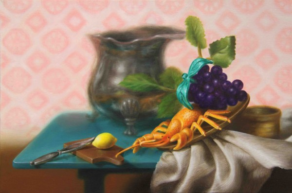 Emily Hartley-Skudder  Still Life with Lobster and Mustard Pot , 2012  Oil on calico  214 x 320 mm [Private collection]   _______
