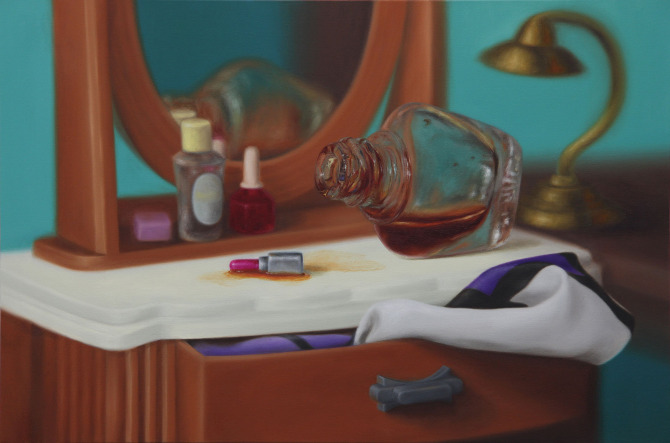 Emily Hartley-Skudder  Dresser and Bottle , 2011  Oil on canvas 560 x 840 mm  [Private collection]   _______