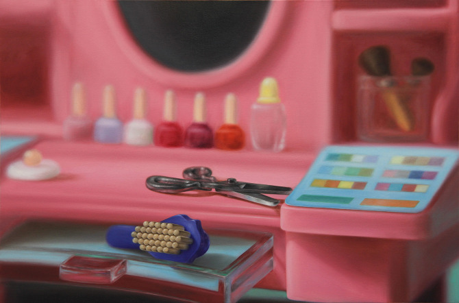 Emily Hartley-Skudder  Hairbrush and Scissors on Vanity , 2011 Oil on canvas 560 x 840 mm [Private collection]   _______