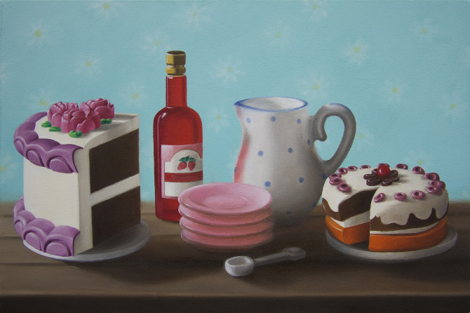 Emily Hartley-Skudder  Cakes , 2010 Oil on canvas 400 x 600 mm [Private collection]   _______
