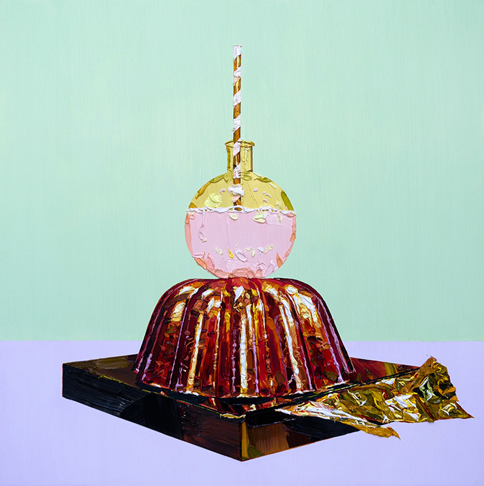 Grace Crothall  Milkshake, mould, with mint and mauve , 2015 Oil on board 600 x 600 mm [Private collection]   _______