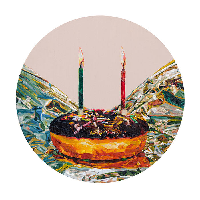 Grace Crothall  Chocolate doughnut with salmon pink , 2015 Oil on board 200 x 200 mm [Private collection]   _______