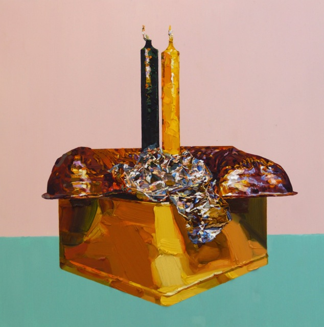 Grace Crothall  Copper jello mold with pink and green , 2014  Oil on cradled board 650 x 650 mm [Private collection]   _______