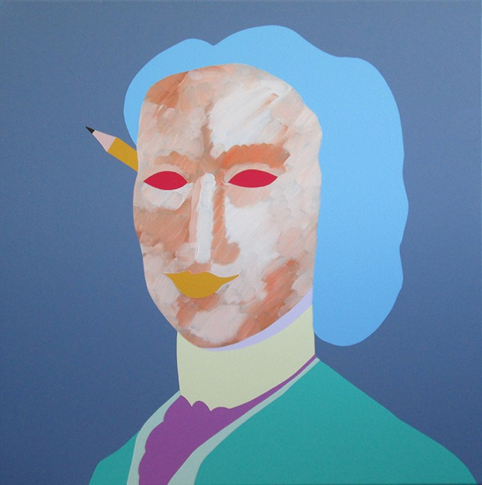 Wayne Youle  A stranger in a new land with a new pencil , 2015 Oil and acrylic on linen 600 x 600 mm [Wellington City Council Collection]   _______