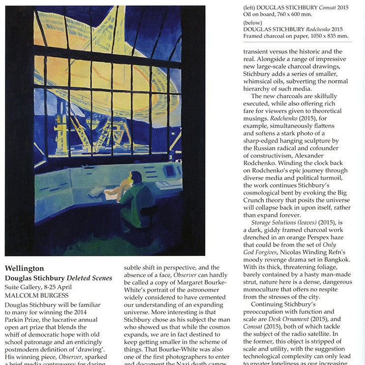 Douglas Stichbury: Deleted Scenes Malcolm Burgess review of Stichbury's exhibition, Deleted Scenes, in Art New Zealand, Winter 2015