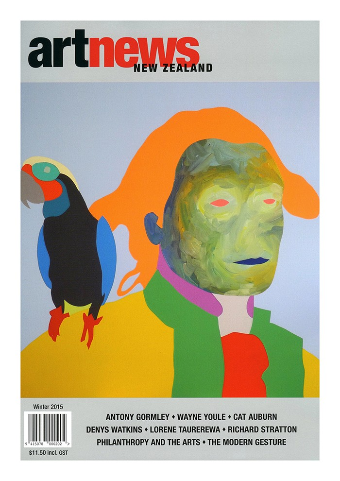 Wayne Youle Polly want a knuckle sandwich, 2015, featured on the cover of Art News New Zealand, Winter 2015. Wayne Youle is also featured inside in Jamie Hanton's piece, 'A multi-disciplinary man'.
