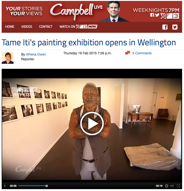 Iti  exhibition featured on Campbell Live