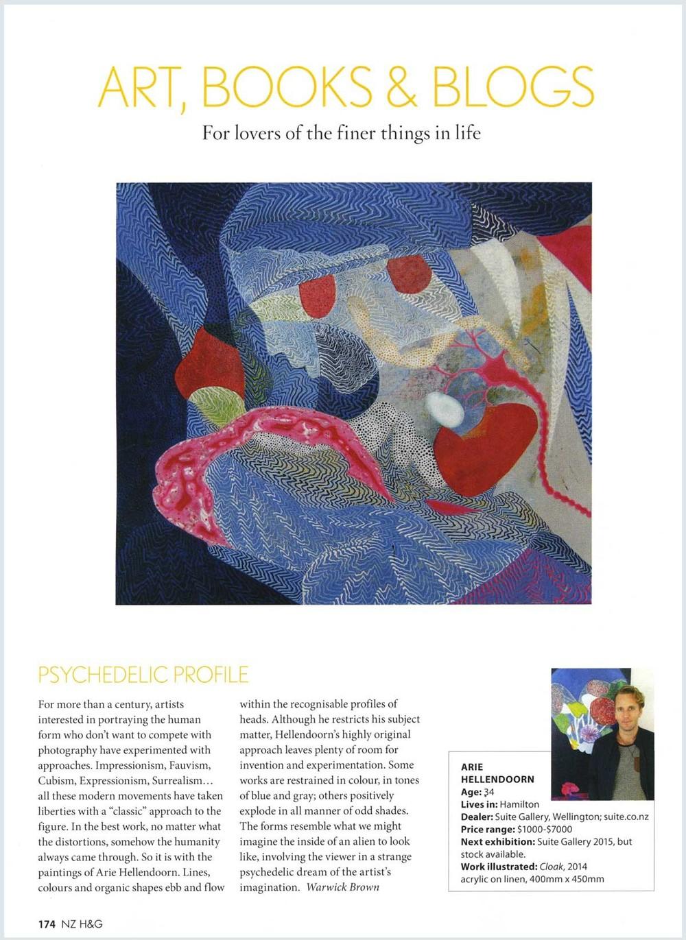 Arie Hellendoorn Warwick Brown piece from NZ House & Garden Magazine, November 2014