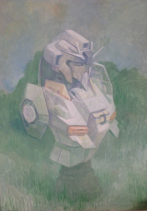 Douglas Stichbury  RX-78-2 , 2015 Oil on canvas 700 x 500 mm   _______