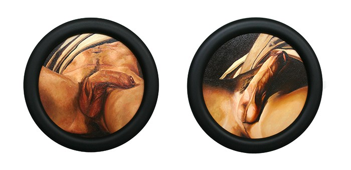 Roger Boyce  The Other Origin of the World (after Courbet's L'origine du monde) , 2015 Oil on board Each 245 mm diameter including frame [Private collection]   _______