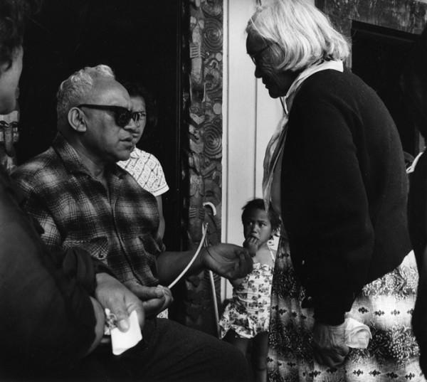 Ans Westra  Blind faith healer, Ringatu Hui, Ruatoki , 1963 Signed silver gelatin print 210 x 218 mm  _______