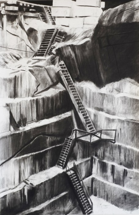 Douglas Stichbury The Quarry, 2014  Charcoal on paper  1500 x 800 mm   _______