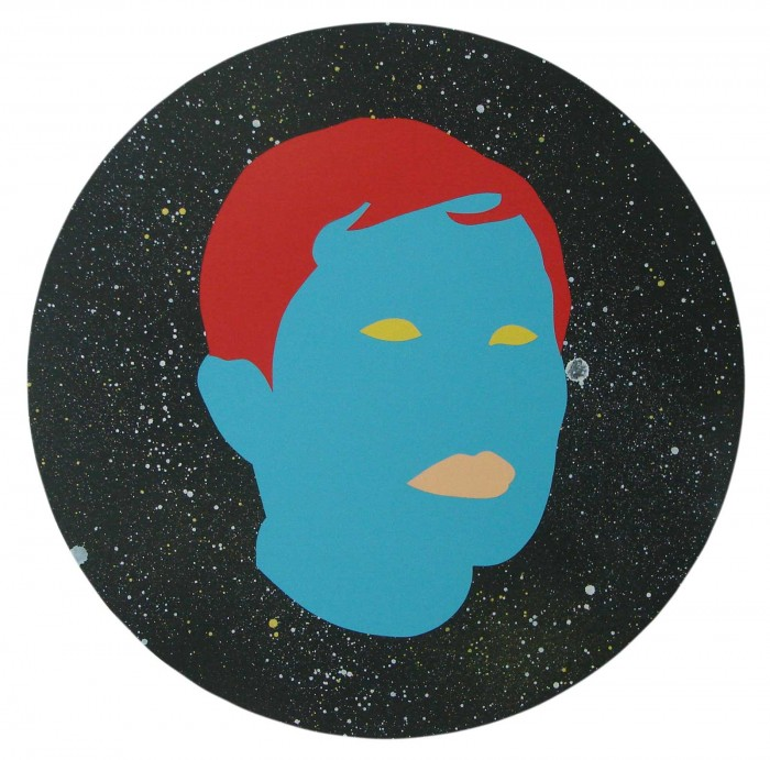 Wayne Youle  I'm an Aries and I love long galactic walks and mustard , 2014  Acrylic and enamel on board 437 mm, diameter (unframed), 560 mm, diameter (framed)   _______