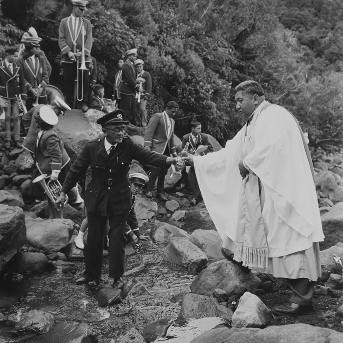 Ans Westra  Ratana Pilgrimage to Te Rere a Kapuni waterfall, southern slopes of Mt Egmont , 1965  Framed signed silver gelatin print  290 x 290 mm [Private Collection]   _______