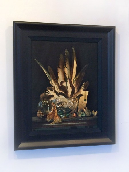 Fiona Pardington  Still Life with Albatross Feathers, a Letter and a Pounamu Heart, Ripiro , 2014 Framed inkjet print on Epson hot press 310 gsm cotton rag 1300 x 1020 mm Edition of 10   _______