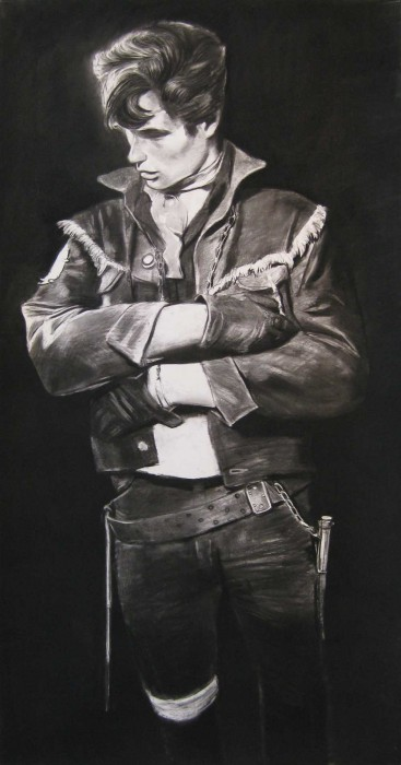Douglas Stichbury  Delinquent , 2014 Charcoal on paper 1500 x 800 mm   _______