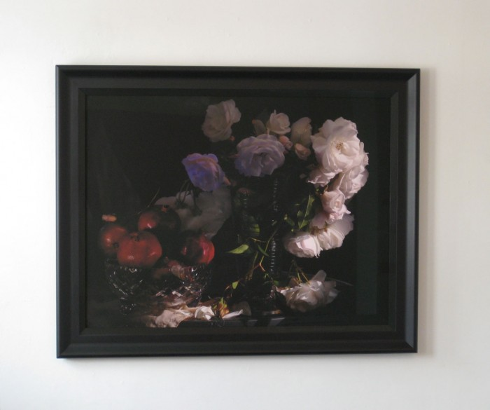 Fiona Pardington  Still Life with Wild White Roses, Photographic Beaker and Pomegranates in a cut Crystal Bowl , 2013 Inkjet print on Epson hot press 310 gsm cotton rag 1030 x 1300 mm (Framed) Signed 1/10   _______