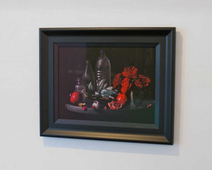 Fiona Pardington  Still Life with My Mother's Roses, Pomegranates & Plastic Bottles, Ripiro Beach , 2013 Inkjet print on Epson hot press 310 gsm cotton rag 610 x 750 mm (Framed) Signed 1/10   _______