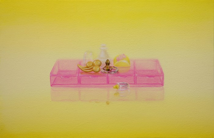 Emily Hartley-Skudder  Arrangement with Pink on Yellow , 2013 Oil on calico 188 x 285 mm [Private collection]   _______
