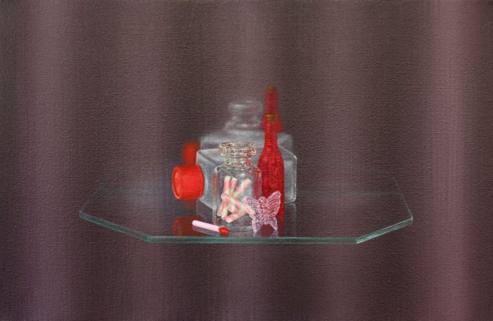 Emily Hartley-Skudder  Bottles, Candy Sticks and Pink Butterfly , 2013 Oil on calico 188 x 285 mm   _______