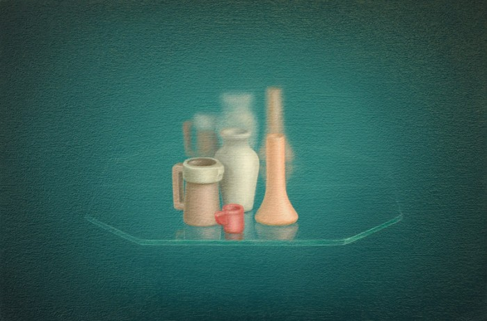Emily Hartley-Skudder  Composition with Vases , 2013 Oil on calico 152 x 228 mm [Private collection]   _______