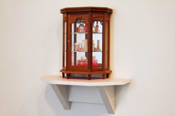 Emily Hartley-Skudder  Pink and Red Tiered Collection , 2013 Found objects on ply shelf 185 x 135 x 80mm   _______