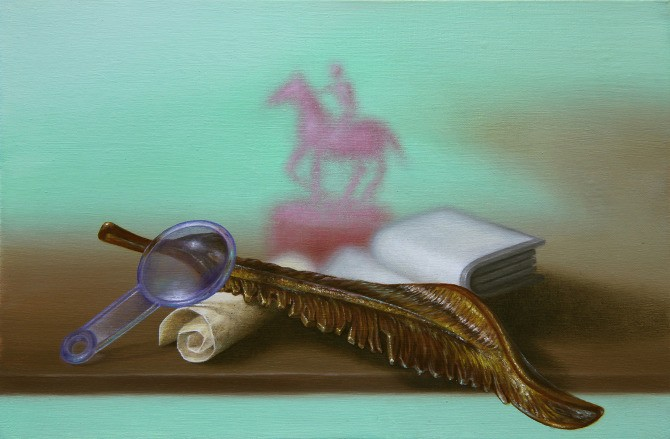 Emily Hartley-Skudder  Vintage Library Still Life , 2012 Oil on Calico 152 x 228 mm [Private collection]   _______