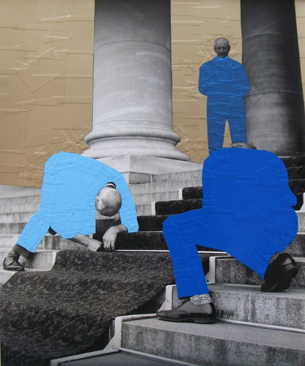 Wayne Youle  Blue People Make Golden Structures , 1977-2013 Sign vinyl on silver gelatin print 310 x 250 mm [Private collection]   _______