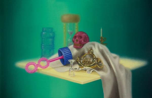 Emily Hartley-Skudder  Bubble-Time Vanitas with French Horn , 2013 Oil on calico 188 x 285 mm [Private collection]   _______