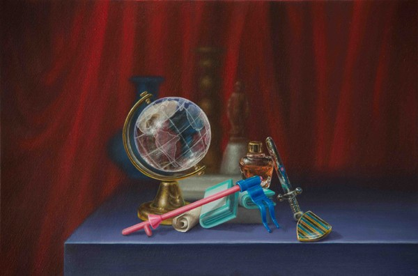 Emily Hartley-Skudder  Explorer's Arrangement with Globe, Flag and Crest , 2013 Oil on calico 188 x 285 mm [Private collection]   _______
