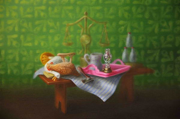 Emily Hartley-Skudder  Kitchen Still Life with Poultry , 2013 Oil on calico 188 x 285 mm [Private collection]   _______
