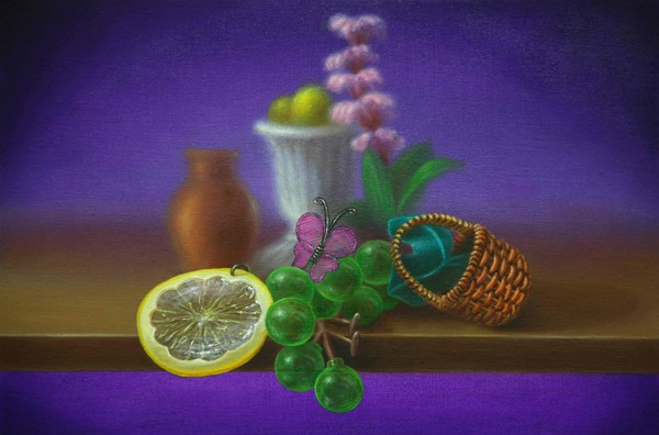 Emily Hartley-Skudder  Butterfly and Green Grapes with a Slice of Lemon,  2013 Oil on calico 152 x 228 mm [Private collection]   _______
