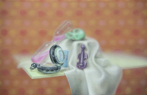 Emily Hartley-Skudder  Vanitas Still Life with Trinkets , 2013 Oil on calico 152 x 228 mm [Private collection]   _______