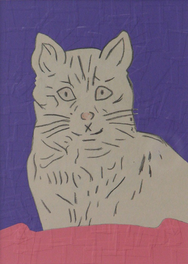 Wayne Youle  LOST CAT , 2012 Sign vinyl on found graphite drawing 160 x 115 mm   _______