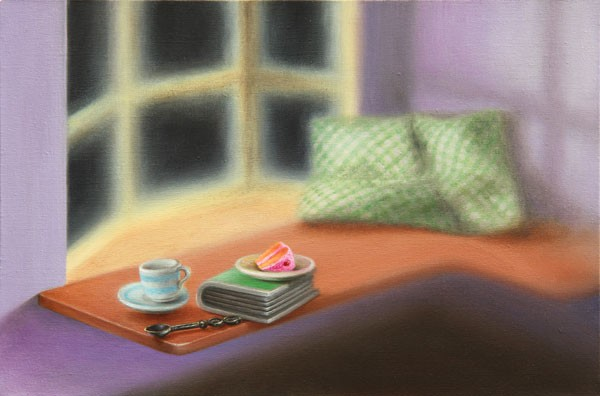 Emily Hartley-Skudder  Guest Room (Window Seat with Teacup, Cake and Book) , 2012-13  Oil on calico 152 x 228 mm [Private collection]   _______