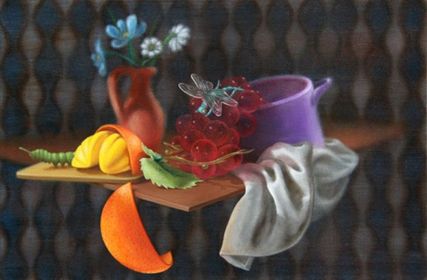 Emily Hartley-Skudder  Media Lounge (Still Life with Citrus and Grapes),  2012 Oil on canvas 345 x 525 mm  [Christchurch Art Gallery Collection]   _______