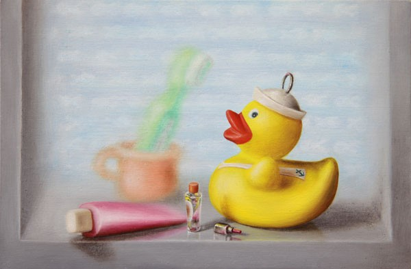 Emily Hartley-Skudder  Bathroom (Cabinet with Toiletries and Rubber Ducky) , 2012 Oil on calico 152 x 228 mm [Private collection]   _______