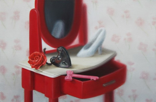 Emily Hartley-Skudder  Girl's Room (Dresser with Red Rose, Lock and Key) , 2013  Oil on calico 188 x 285 mm  [Private collection]   _______