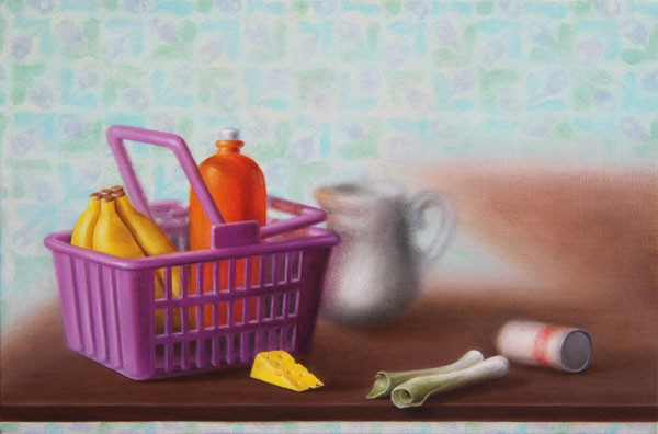 Emily Hartley-Skudder  Fridge Ornament (Shopping Basket with Groceries) , 2012  Oil on calico  152 x 228 mm  [Private collection]   _______