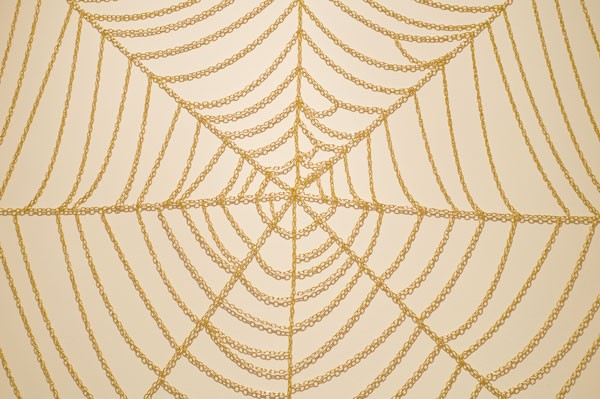 Wayne Youle  So he wore a subtle web, in a little corner sly, and set his table ready, to dine upon the fly , 2012 (detail) Imitation gold chain  [Private collection]   _______