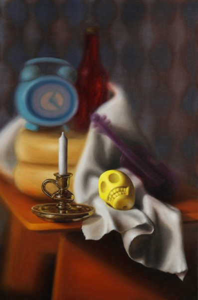 Emily Hartley-Skudder  Vanitas with Candlestick and Yellow Skull , 2012 Oil on canvas 840 x 560 mm [Private collection]   _______